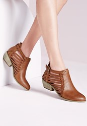 Missguided Strappy Cut Out Ankle Boot Tan Brown