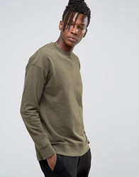 Selected Homme Sweatshirt With Dropped Shoulder Olive Nights Green