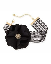 Lydell Nyc Statement Flower And Mesh Choker Necklace Black