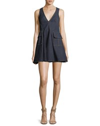 Carven V Neck Sleeveless Denim Short Dress Blue