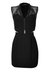 The Kooples Cut Out Dress With Lace Shoulders