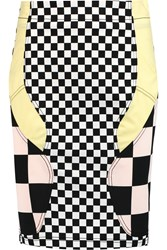 Love Moschino Paneled Printed Stretch Cotton Twill Skirt Black