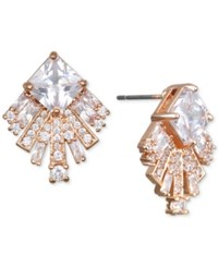 Jewel Badgley Mischka Square Crystal Fan Drop Earrings Rose Gold