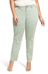 Sejour Plus Size Women's Stretch Cotton Ankle Pants Green Dune