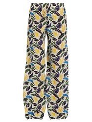 Kalmar Tropical Leaf Print Silk Crepe De Chine Trousers White Multi