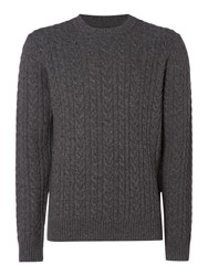 Criminal Men's Ash Cable Crew Neck Jumper Charcoal