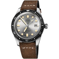 Oris 01 733 7720 4051 07 5 21 02 Men's Divers Sixty Five Automatic Date Leather Strap Watch Dark Brown Silver