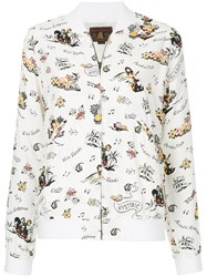 Hysteric Glamour Floral Print Bomber Jacket White