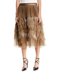 Brunello Cucinelli Tiered Tulle Feathered Midi Skirt Brown