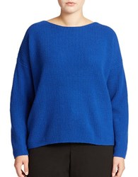 Lord And Taylor Plus Wool Blend Waffle Knit Sweater Surf Blue