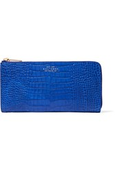 Smythson Mara Croc Effect Glossed Leather Wallet Light Blue
