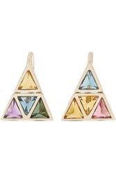 Noor Fares Kali 18 Karat Gold Multi Stone Earrings One Size