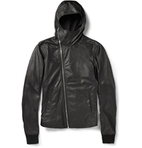 Rick Owens Slim Fit Hooded Leather Jacket Black