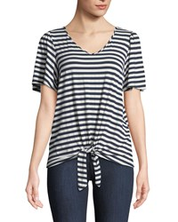 Casual Couture Striped Short Sleeve Tie Front Tee Blue White