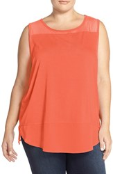 Plus Size Women's Vince Camuto Sleeveless Mixed Media Top Retro Coral