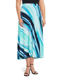 Nipon Boutique Plus Abstract Print Flared Skirt Island Multicolor