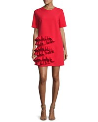 Msgm Ruffle Front Short Sleeve Crepe Dress Red