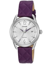 Citizen Women's Drive Purple Quilted Leather Strap Watch 34Mm Fe6080 03A