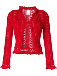 Chanel Vintage Crochet Cardigan Red
