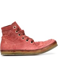 A Diciannoveventitre Distressed Hi Top Sneakers Red