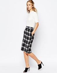 The Laden Showroom X Among Tartan Pencil Skirt With Back Split Black