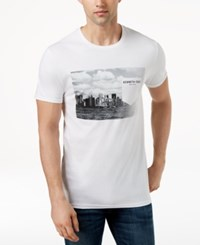 Kenneth Cole New York Men's Graphic Print Faux Pocket T Shirt White