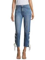Paige Marvella Crop Scarf Lace Up Hem Jeans Meridian