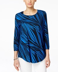 Jm Collection Three Quarter Sleeve Tee Wave Print Moody Mix