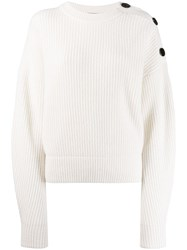 Yves Salomon Shoulder Button Jumper White