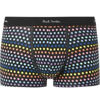 Paul Smith Polka Dot Stretch Cotton Boxer Briefs Black