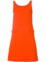 Courreges Sleeveless Double Pocket Dress Women Silk Polyester Wool 40 Red