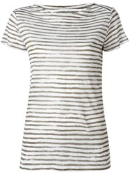 Majestic Filatures Striped Shortsleeved T Shirt White