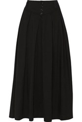Y 3 Adidas Originals Pleated Cotton Midi Skirt Black