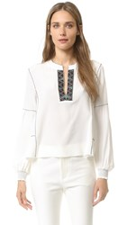 Derek Lam Long Sleeve Blouse With Smocked Cuffs Soft White