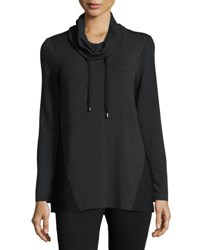Neiman Marcus Drawstring Cowl Neck Top Charcoal