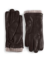 Black Brown Cashmere Lined Cuffed Leather Gloves Brown