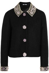 Holly Fulton Embellished Wool Blend Boucle Jacket Black