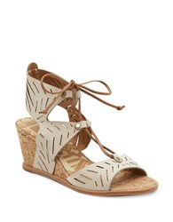Dolce Vita Langly Leather Wedge Sandals Off White