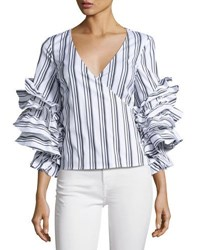 Caroline Constas Athena Striped Ruffle Sleeve Wrap Blouse Multi