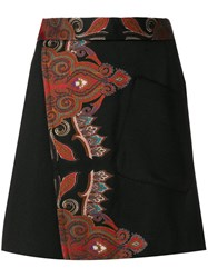 Etro A Line Wrap Skirt Acrylic Polyester Acetate Wool Black