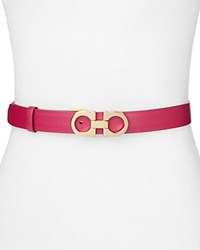 Salvatore Ferragamo Gancini Icona Stripe Small Leather Belt Sangria Pink Gold
