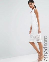 Asos Petite Occasion Lace Skirt Pencil Dress Ivory White