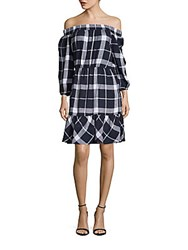 Eci Off The Shoulder Plaid Dress Navy Ivory