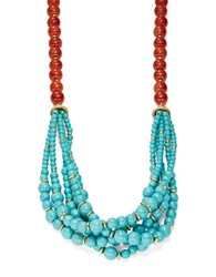 Kenneth Jay Lane Two Tone Multi Row Layered Beaded Necklace Gold