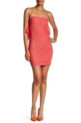 Dress The Population Lisa Strapless Lace Minidress Orange