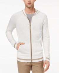 Ryan Seacrest Distinction Men's Slim Fit Full Zip Hoodie Created For Macy's White Twill