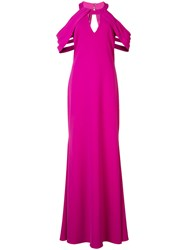 Badgley Mischka Pleated Cut Out Sleeves Gown Pink Purple