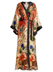 Camilla Floral Print Silk Satin Kimono Wrap Dress Orange Multi