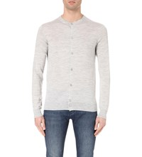 Reiss Labrynth Wool Crewneck Cardigan Grey
