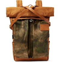 Atelier De L'armee Leather Trimmed Cotton Canvas Backpack Brown
